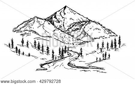 Mountain Sketch With Pine Forest, Engraving Style, Hand Drawn Vector Illustration. Mountain Peak Ico