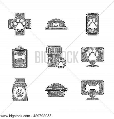 Set Dog Medicine Bottle, Pet Food Bowl, Bone, Location Veterinary, Bag Of, Clinical Record Pet, Vete