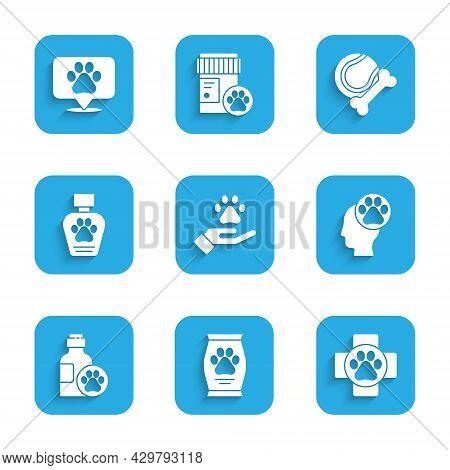 Set Hands With Animals Footprint, Bag Of Food, Veterinary Clinic, Human, Pet Shampoo, Toys Bone Rubb
