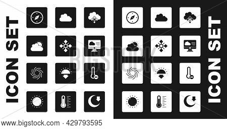 Set Cloud With Snow, Snowflake, Sun And Cloud Weather, Compass, Weather Forecast, Meteorology Thermo