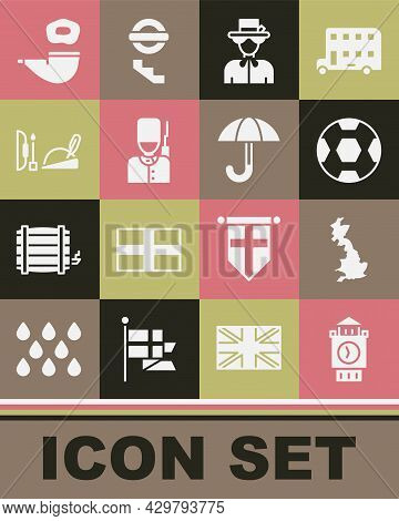 Set Big Ben Tower, England Map, Football Ball, Queen Elizabeth, British Soldier, Robin Hood Hat, Smo