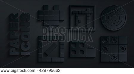 Set Toy Building Block Bricks, Checker Game Chips, Board, Of Checkers, Bingo And Pixel Hearts For Ic