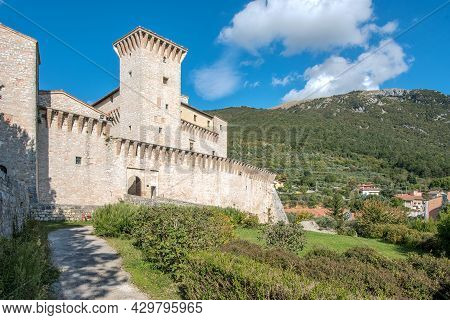 Rocca Flea Is A Fortified Palace And Museum In Gualdo Tadino, Umbria, Central Italy, October 10, 202