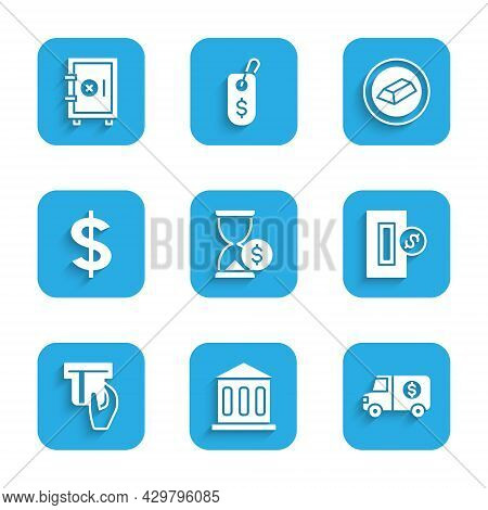Set Hourglass With Dollar, Bank Building, Armored Truck, Inserting Coin, Credit Card Inserted, Dolla