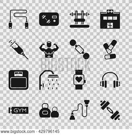 Set Dumbbell, Headphones, Vitamin Pill, Bench With Barbel, Bodybuilder Muscle, Doping Syringe, Jump