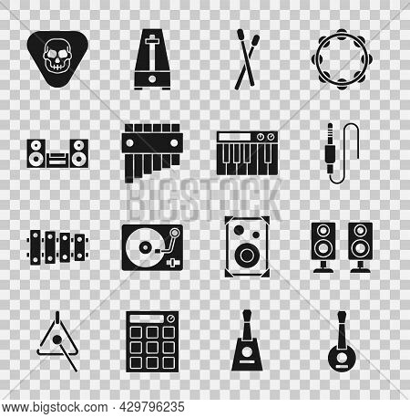 Set Banjo, Stereo Speaker, Audio Jack, Drum Sticks, Pan Flute, Home Stereo, Guitar Pick And Music Sy