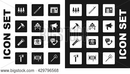 Set Building Of Fire Station, Firefighter Helmet, Axe, Forest, Megaphone, Metal Pike Pole, Telephone