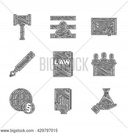 Set Law Book, Oath On The Holy Bible, Bribe Money Bag, Jurors, International Law, Fountain Pen Nib,