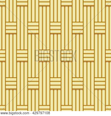Traditional Woven Bamboo Seamless Pattern Vector Template