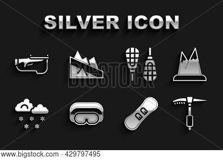 Set Ski Goggles, Mountains, Ice Axe, Snowboard, Cloud With Snow, Snowshoes, Biathlon Rifle And Desce