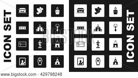 Set Burning Candle, Church Building, Coffin With Cross, Tie, Dove, Old Crypt And Beat Dead Monitor I