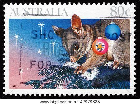 Postage Stamp Australia 1990 Opossum On Christmas Tree