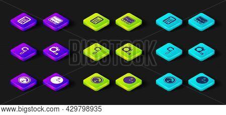 Set Speedometer, Radius, Micrometer, Roulette Construction, Measuring Instrument And Calculator Icon