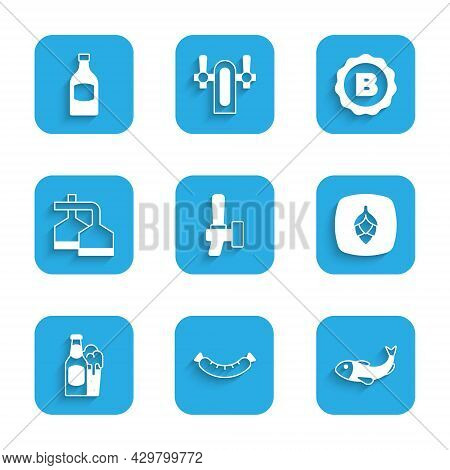 Set Beer Tap, Sausage, Dried Fish, Hop, Bottle And Glass, Brewing Process, Bottle Cap With Beer And
