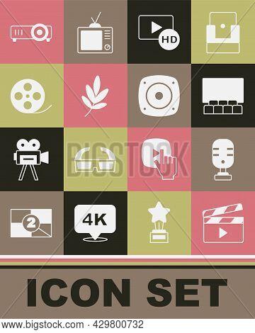 Set Movie Clapper, Microphone, Cinema Auditorium With Screen, Hd Movie, Tape, Frame, Trophy, Film Re