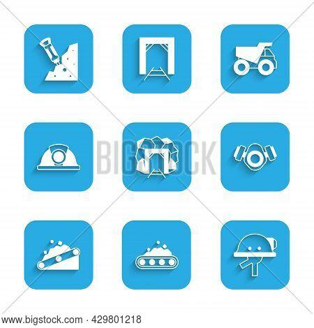 Set Mine Entrance, Conveyor Belt Carrying Coal, Miner Helmet, Gas Mask, Mining Dump Truck And Constr