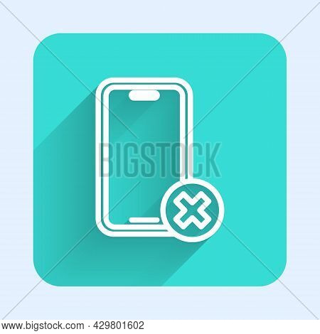 White Line No Cell Phone Icon Isolated With Long Shadow Background. No Talking And Calling Sign. Cel