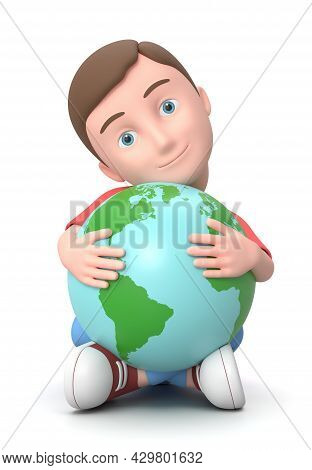 Smiling Young Kid Cuddling The World. 3d Cartoon Character Sitting On The Ground Isolated On White B