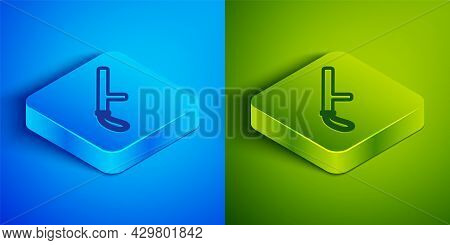 Isometric Line Police Rubber Baton Icon Isolated On Blue And Green Background. Rubber Truncheon. Pol