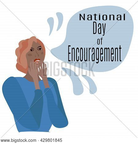 National Day Of Encouragement, Idea For A Banner Or Postcard With A Thematic Design, A Girl Showing
