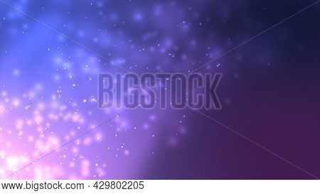 Blue And Violet Bokeh Particles Awards Dust Gradient Abstract Background. Futuristic In Space On Dar