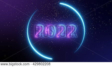 Number 2022 Neon Light Bright Glowing. 2022 Happy New Year Dark Background With Decoration With Neon