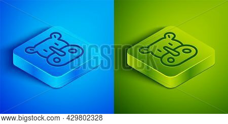 Isometric Line Rhinoceros Icon Isolated On Blue And Green Background. Animal Symbol. Square Button.