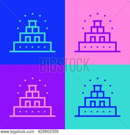 Pop Art Line Chichen Itza In Mayan Icon Isolated On Color Background. Ancient Mayan Pyramid. Famous
