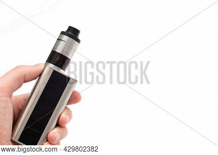 Vape Mod In Hand. Man Hand Holding Electronic Cigarette.