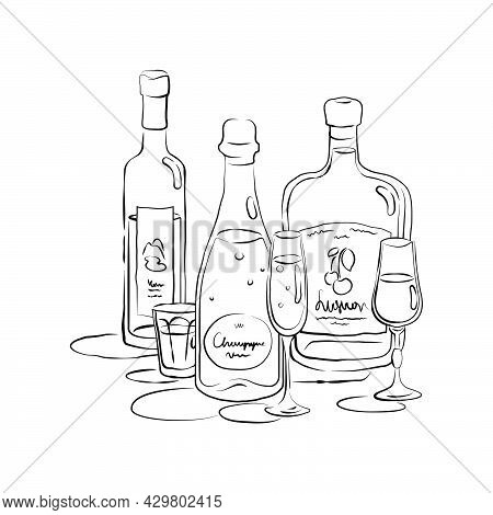 Bottle And Glass Champagne Vodka Liquor Together In Hand Drawn Style. Beverage Outline Icon. Restaur