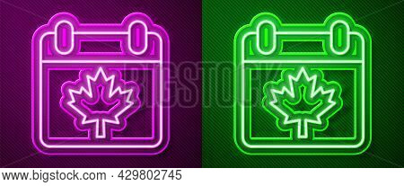 Glowing Neon Line Canada Day With Maple Leaf Icon Isolated On Purple And Green Background. 1-th Of J