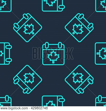 Green Line Canada Day With Maple Leaf Icon Isolated Seamless Pattern On Blue Background. 1-th Of Jul