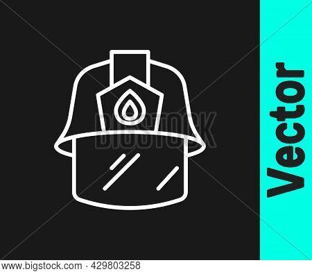 White Line Firefighter Helmet Or Fireman Hat Icon Isolated On Black Background. Vector