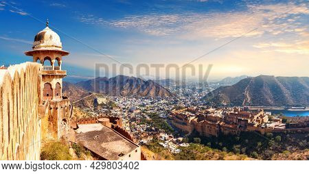 View On Amber Fort From Jaigarh Fort, Jaipur, India.