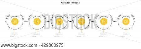 Progress Bar With Six Circular Elements Placed In Horizontal Row And Connected By Lines. Concept Of