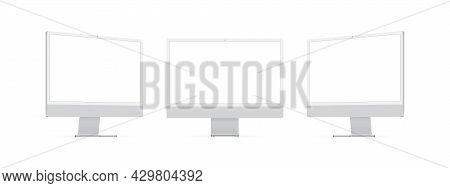 Computer Monitors With Blank Screens Isolated On White Background. Mockup To Showcase Website Design