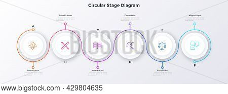 Process Chart With Six Paper White Circular Elements Placed In Horizontal Row And Curved Line. Conce