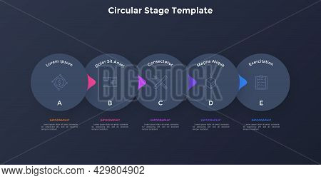 Flowchart With Five Overlaying Paper Black Elements With Pointers Placed In Horizontal Row. Concept