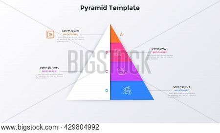 Paper White Pyramid With Four Colorful Layers. Concept Of 4 Stages Of Business Development Strategy.