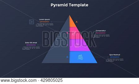 Paper Black Pyramid With Four Colorful Layers. Concept Of 4 Stages Of Business Development Strategy.