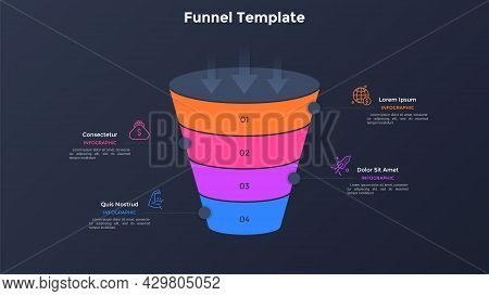 Funnel-shaped Diagram Divided Into 4 Colorful Layers. Concept Of Four-stepped Business Model. Minima