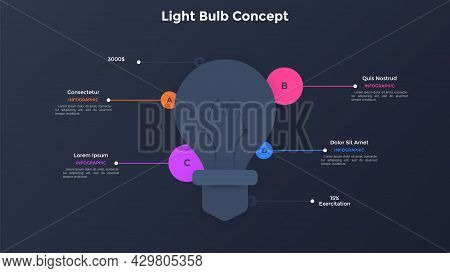 Paper White Lightbulb Silhouette And 4 Round Elements. Concept Of Four Features Of Innovative Idea O