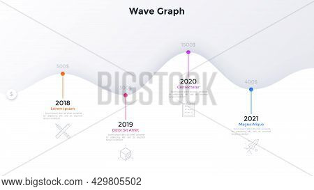 Paper White Wave Timeline Chart With 4 Steps And Year Indication. Concept Of Four Annual Milestones