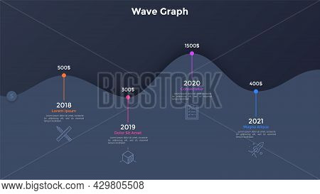 Paper Black Wave Timeline Chart With 4 Steps And Year Indication. Concept Of Four Annual Milestones