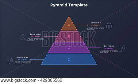Pyramid Diagram Divided Into Four Colorful Layers. Concept Of 4 Steps Of Business Development Progre