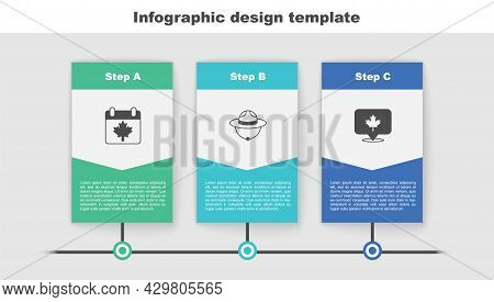 Set Canada Day With Maple Leaf, Canadian Ranger Hat And . Business Infographic Template. Vector