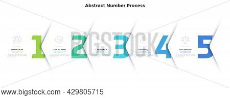 Five Numbers Or Figures Overlaid By Paper White Corners Or Arrows. Concept Of 5 Successive Steps Of