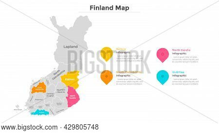 Finland Map Divided Into Federal States. Territory Of Country With Regional Borders. Finnish Adminis