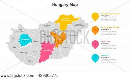 Hungary Map Divided Into Federal States. Territory Of Country With Regional Borders. Hungarian Admin