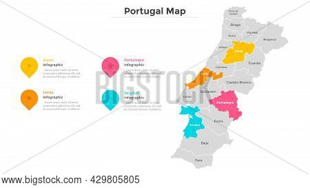 Portugal Map Divided Into Federal States. Territory Of Country With Regional Borders. Portuguese Adm